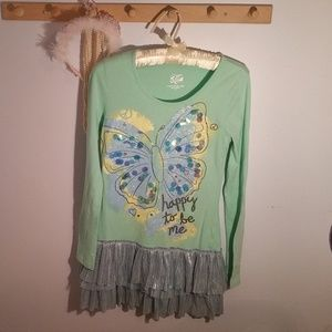 Justice Size 14 Light Green Butterfly Print Dress